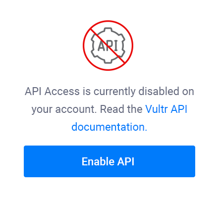 Vultr Control Panel - Enable API