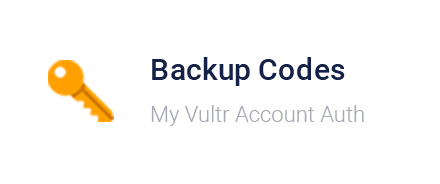 Vultr Control Panel - Backup Codes