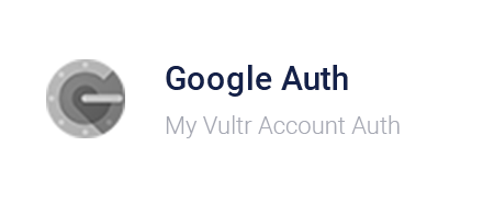 Vultr Control Panel - Google Authentication