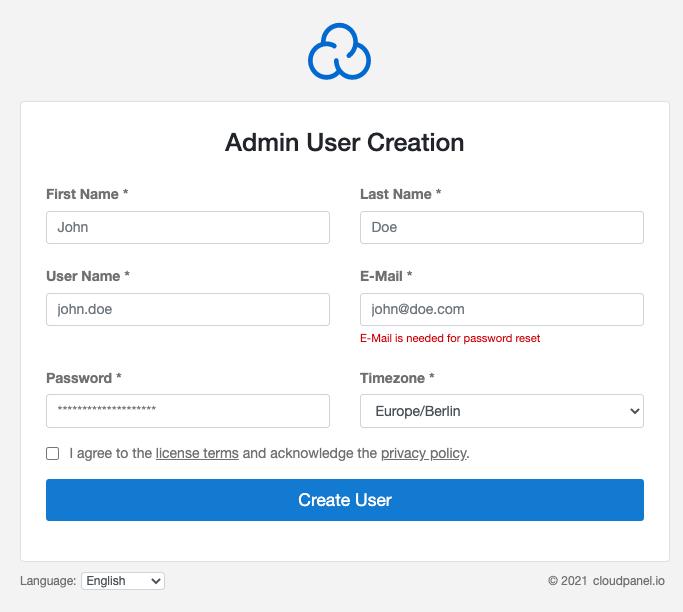 Admin User Creation