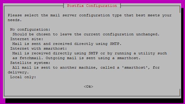 Postfix package configuration screen