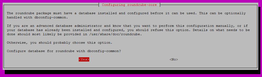Configure database for Roundcube