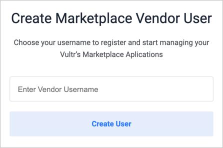 Screenshot of Vendor sign up screen