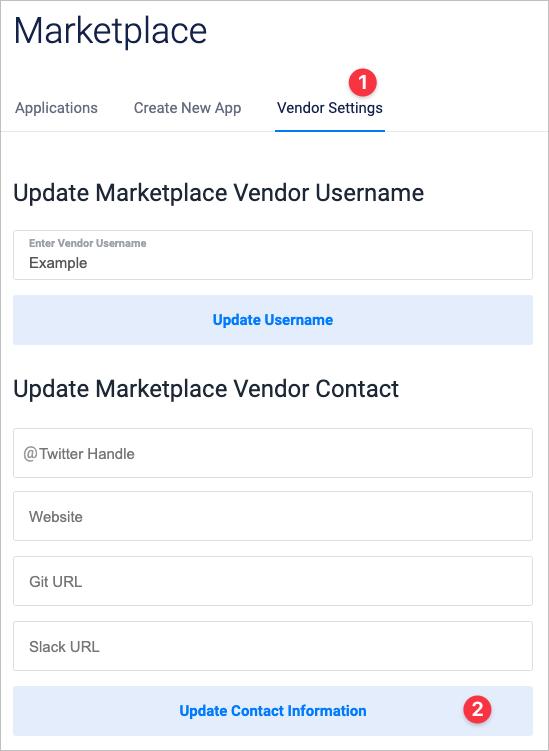 Screenshot of Marketplace Vendor Settings page