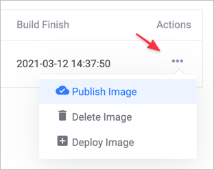 Screenshot of deploy image menu