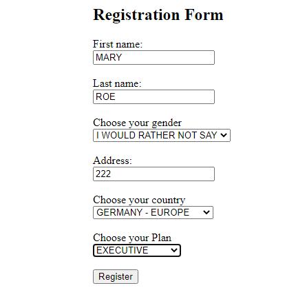 New Form values
