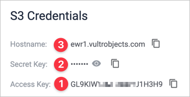 Screenshot of Vultr Object Storage page