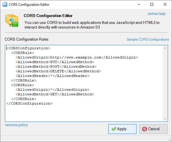 Screenshot of CORS configuration dialog