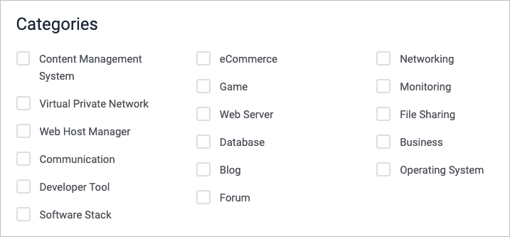Screenshot of categories