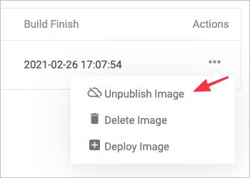 Screenshot of deploy option
