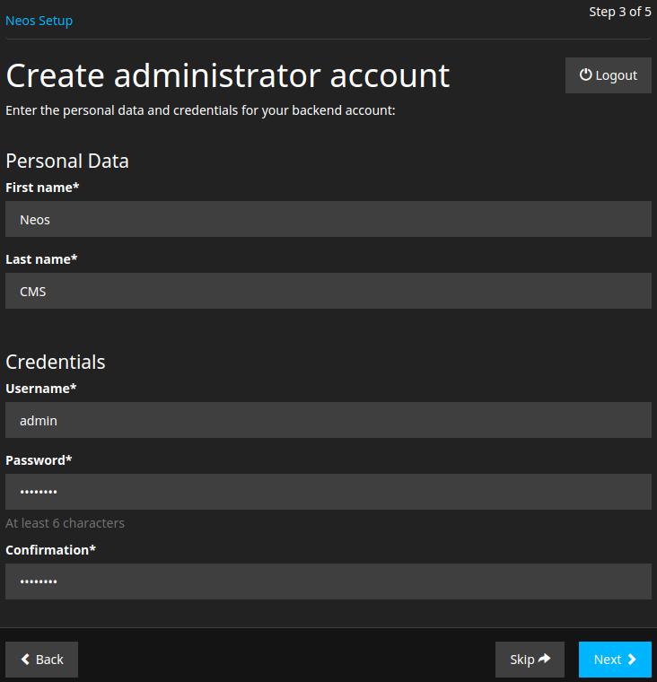 Neos Create administrator account