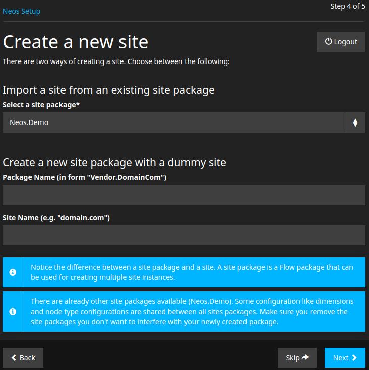 Neos Create a new site