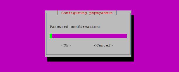 Confirm password for phpMyAdmin