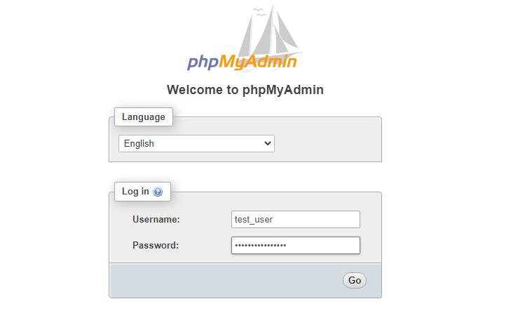 phpMyAdmin Login Page Sample