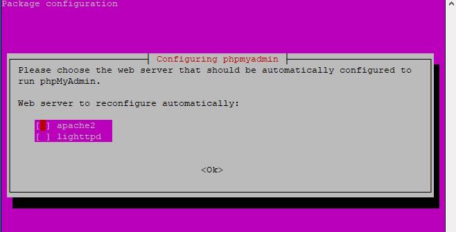 phpMyAdmin choose a webserver