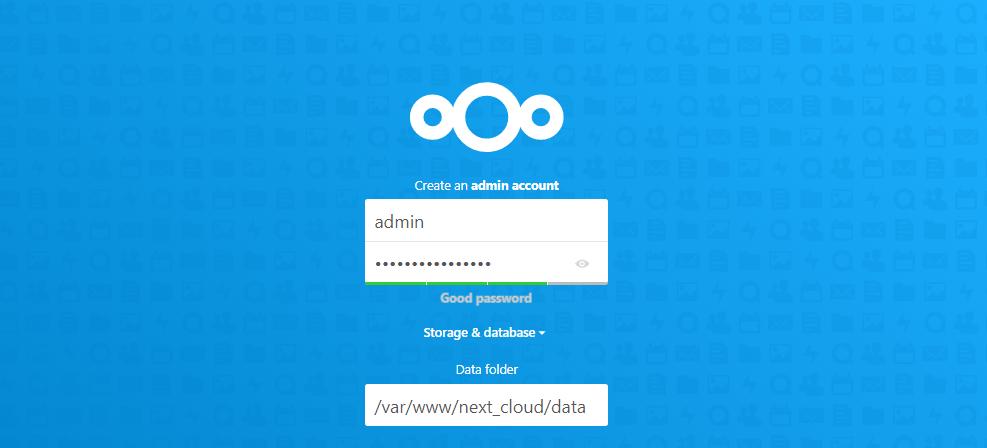 Next Cloud Setup Page 1