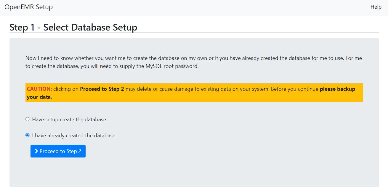 Step 1 - Select Database Setup