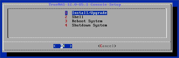 TrueNAS Install Screen