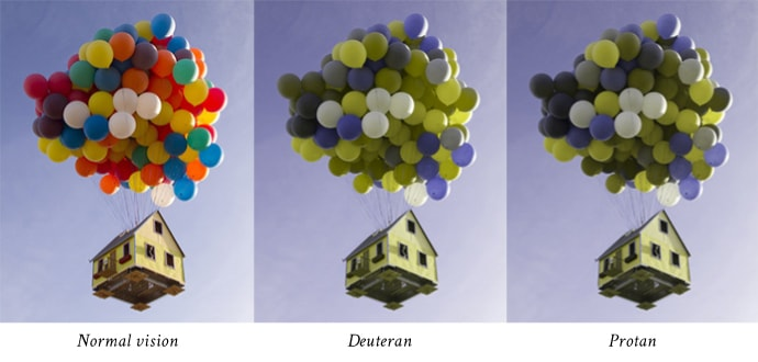 A simulated example of different types of color-blindness